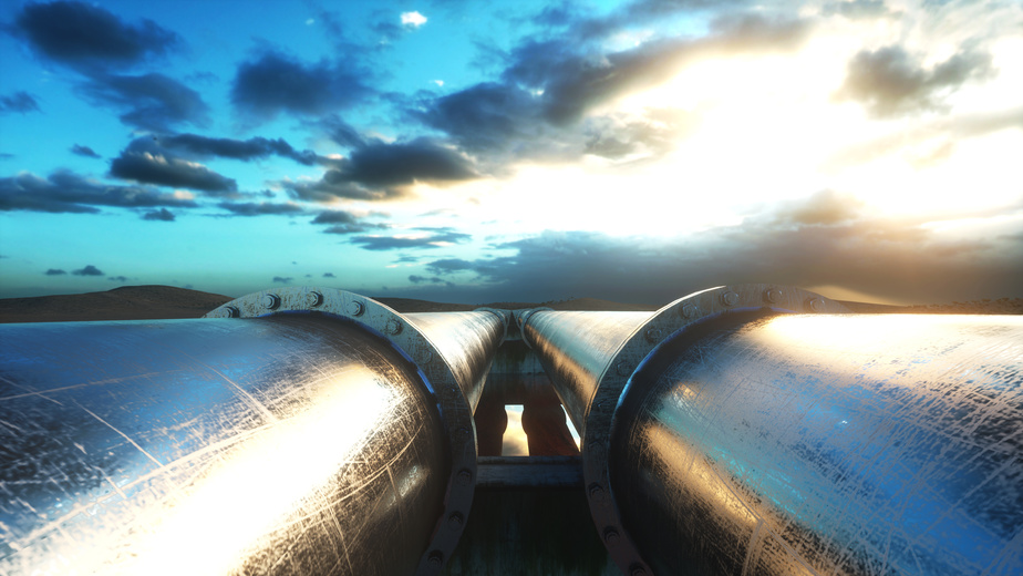 Pipeline transportation oil, natural gas or water in metal pipe. Oil concept. 3d rendering